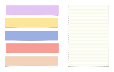 Lined colorful note, notebook paper strips for text stuck on white background. Vector illustration.