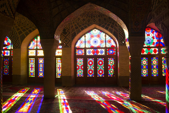 Pink mosque in Shiraz, Iran.