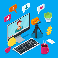 Blogging and social media content creation. Photo or video blog vector 3d isometric icons. Internet business concept