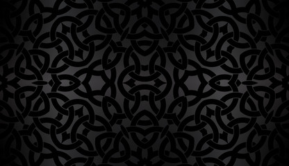 Black background with celtic decorative pattern