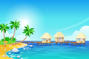 Tropical island landscape, vector illustration. Palms and bungalows in the ocean. Summer travel cartoon background.