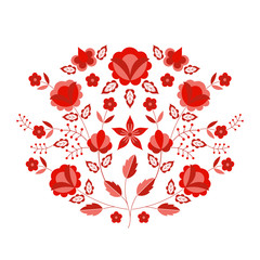Polish folk pattern vector. Floral ethnic ornament. Slavic eastern european print. Red flower design for rustic wedding card, handmade interior textile, boho pillow case, fashion embroidery scarf.