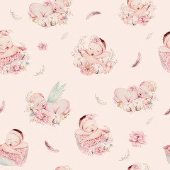 Cute newborn watercolor baby pattern. New born dream sleeping child illustration girl and boy patterns. Baby shower birthday painting backgraund painting.