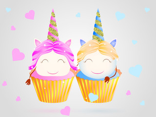 Two Cupcakes. Boy and girl unicorns. Vector illustration