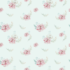 Watercolor seamless floral pattern with cotton. Bohemian natural patterns: leaves, feathers, flowers, rose boho white background. Artistic decoration illustration. Textile design