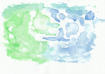 Emerald (jade) and azure mixed watercolor horizontal gradient background. It's useful for greeting cards, valentines, letters. Abstract art style handicraft pattern.