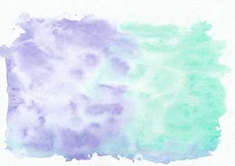 Indigo (lavander) and teal (persian green) mixed watercolor horizontal gradient background. It's useful for greeting cards, valentines, letters. Abstract art style handicraft pattern.