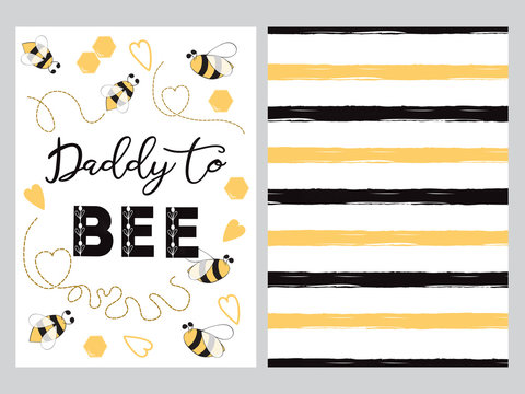 Fathers day banner design set text Daddy to bee decorated bee, striped ornament card poster logo