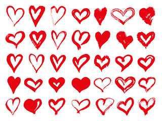 Big set of red grunge hearts. Design elements for Valentines day. Vector illustration heart shapes. Isolated on white background