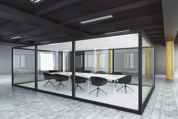 Modern glass meeting room