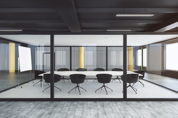 Modern glass boardroom