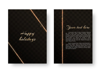 A bright postcard with gold neon strips and shiny particles on a translucent background. Christmas vector illustration