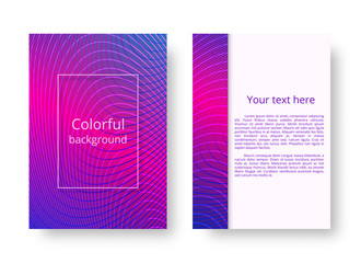 A colorful leaflet pattern with bright neon stripes. Vector illustration with a purple-pink gradient and colored lines