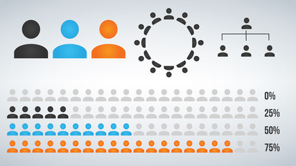 Vector illustration of infographic user icon element, statistic and hierarchy.