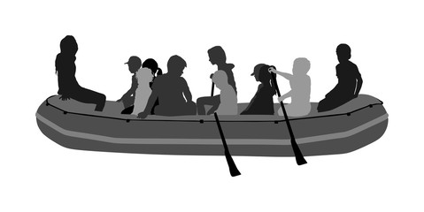 Happy kids rafting with rubber boat silhouette vector. Children beach fun. Girls and boys enjoying rowing on river on inflatable boat. Friends paddling. Young crew outdoor relaxing. Summer active