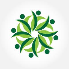 Teamwork people ecology care logo vector