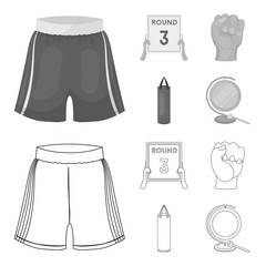Boxing, sport, round, hand. Boxing set collection icons in outline,monochrome style vector symbol stock illustration web.