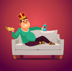 Lazy sofa king man unemployed character laying eating pizza and drinking beer. Flat cartoon illustration graphic design concept element