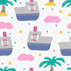 Cute seamless childish pattern for kids in scandinavian style with ferry and palm.