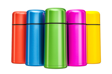 Set of colored thermos, 3D rendering