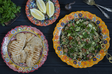 Tabule from quinoa tomato of cucumbers and mint
