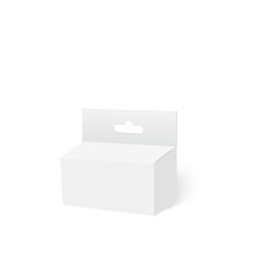 White Product Package Box With Hang Slot. Mock Up. Vector.