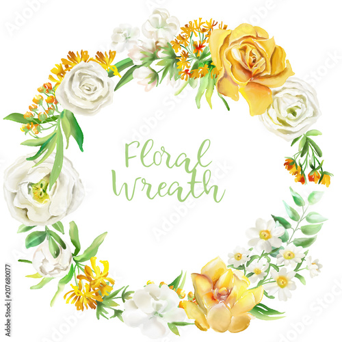 Beautiful Watercolor Floral Frame Wreath Border Yellow