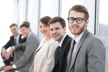 group of business people in office lobby