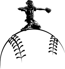 Baseball Catcher Silhouette Over Ball