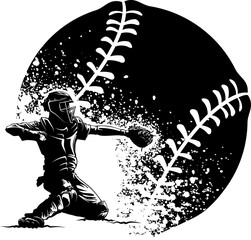 Baseball Catcher Grunge
