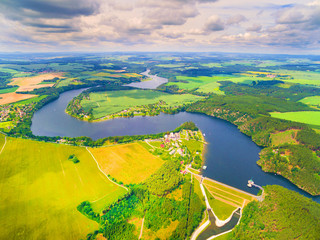 The Hracholusky dam with water power plant. The water reservoir on the river Mze. Source of renewable energy and popular recreational area in Western Bohemia. Czech Republic, Europe.