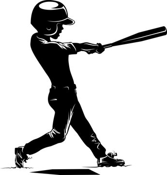 Boy Batting in a Baseball Game Silhouette
