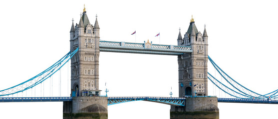 Photo sur Aluminium Pont Tower Bridge in London isolated on white background