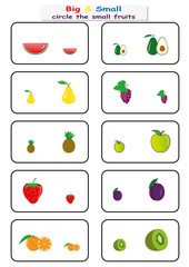 circle the small fruits, Find Big or Small worksheet for kids, opposite. worksheet