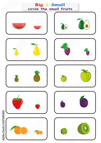 e00b715209a1 circle the small fruits, Find Big or Small worksheet for kids ...