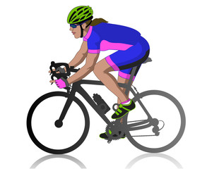 female cyclist racing on road, profile view, isolated on a white background