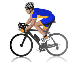 male cyclist racing on road, profile view, isolated on a white background