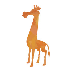 Watercolor silhouette of a giraffe on an isolated background. Vector