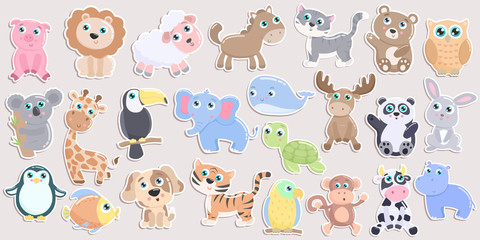 Cute animal sticker set. Flat design