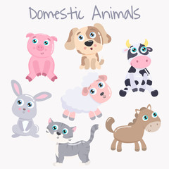 Cute domestic animals. Flat design