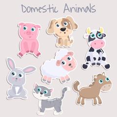 Cute domestic animals. Flat design