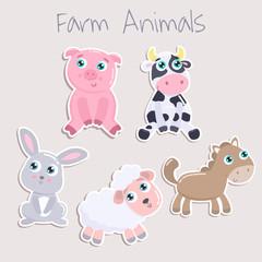 Cute farm animals. Flat design.
