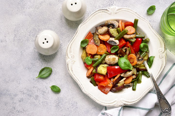 Vegetables stewed with mushrooms.Top view with copy space.