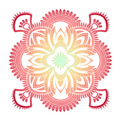 Mandala pattern colored background. Vector illustration. Meditation element for India yoga. Ornament for decorating a greeting. Set of vintage Wedding Invitation card