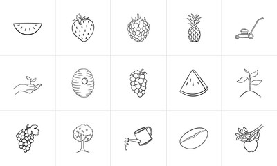 Agriculture food sketch icon set for web, mobile and infographics. Hand drawn agriculture vector icon set isolated on white background.
