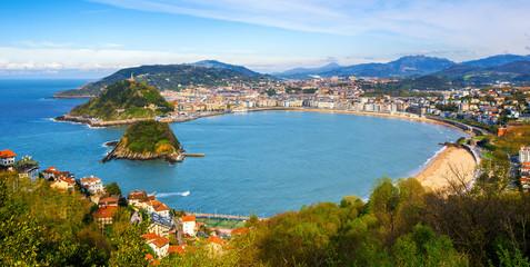 San Sebastian city, Spain, view of La Concha bay and Atlantic ocean