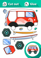 Cut and Glue is an educational game for kids. Vintage Red Van Side View