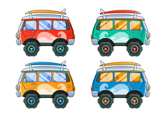 Vintage Red Bus Side View. 4 Color Variations
