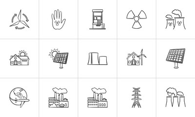 Ecology outline doodle icon set for print, web, mobile and infographics. Hand drawn ecology vector sketch illustration set isolated on white background.