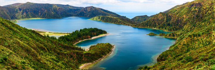 panoramic view of lake lagoa do Fogo from the mountains on San Miguel Island, Azores Wall mural